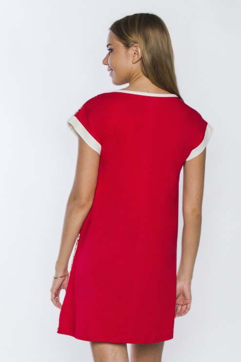 "Платье ""Кружева"" кулирка, красная"